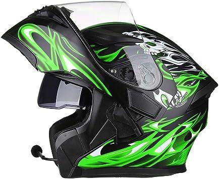 Dby Boy Bluetooth Helm Motorrad Integralhelm Klapphelm Motorradhelm Mit Doppellinse Schwarz Grün 54 64cm Sport Freizeit