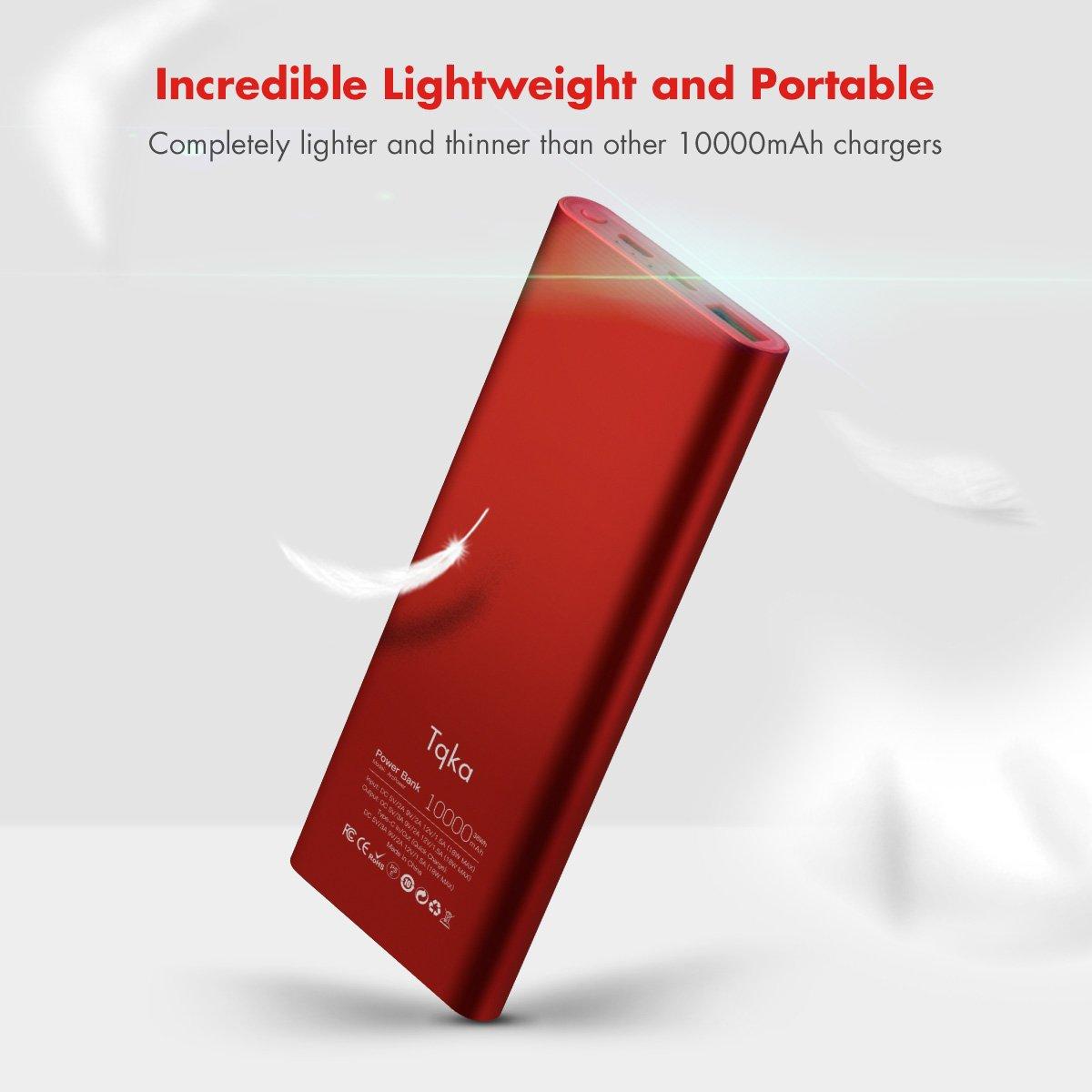 Tqka Cargador Portátil de Carga Rápida 3.0, Una de las Estaciones de Energía Más Delgadas, Batería Externa de Entrada y Salida Tipo C para Samsung, ...