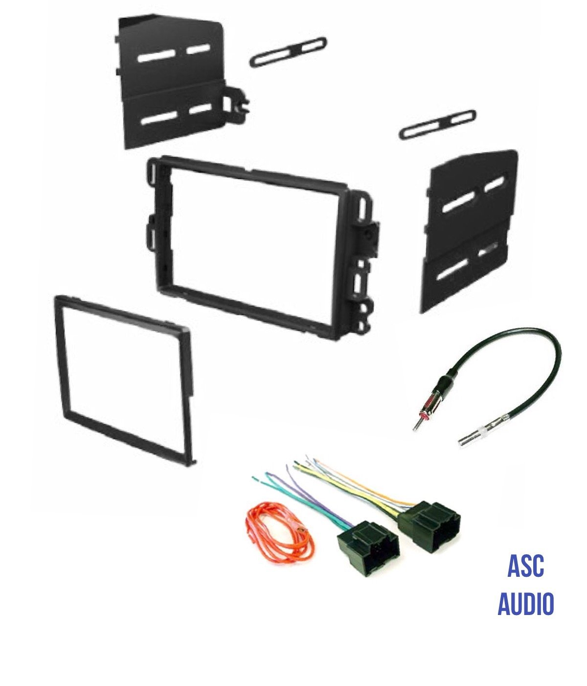 ASC Car Stereo Dash Kit, Wire Harness, and Antenna Adapter Combo to Add a Double Din Radio for some Buick Chevrolet GMC Pontiac Saturn- most 2007-2011 Tahoe, Silverado, Suburban etc.- Listed below by ASC Audio