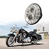 Xprite 7'' Inch Round 60W 5200 Lumens Hi/Lo Beam Cree LED Chrome Headlights With Top Halo Ring Angel Eyes DRL For Harley Davison, Daymaker, Batwing & Motorcycle