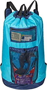 HOMEST Laundry Backpack Bag Extra Large with Mesh Pocket, Shoulder Straps, Machine Washable Durable Nylon Backpack for College Student, Dorm, Camp, Travel, Sky Blue