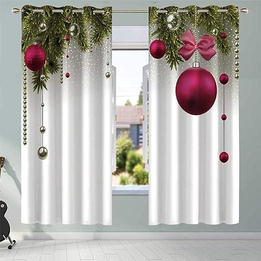 YOLIYANA - Cortinas opacas a prueba de rayos ultravioletas, diseño tradicional de guirnalda con flores, calcetines y campanas, para ventanas de puertas correderas, 56.7 pulgadas de ancho x 40.6 pulgadas de alto: