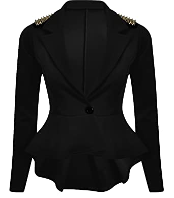 d42a716a8f0 Image Unavailable. Image not available for. Color  New Womens Plus Size  Gold Studded Peplum Blazer Jacket ...