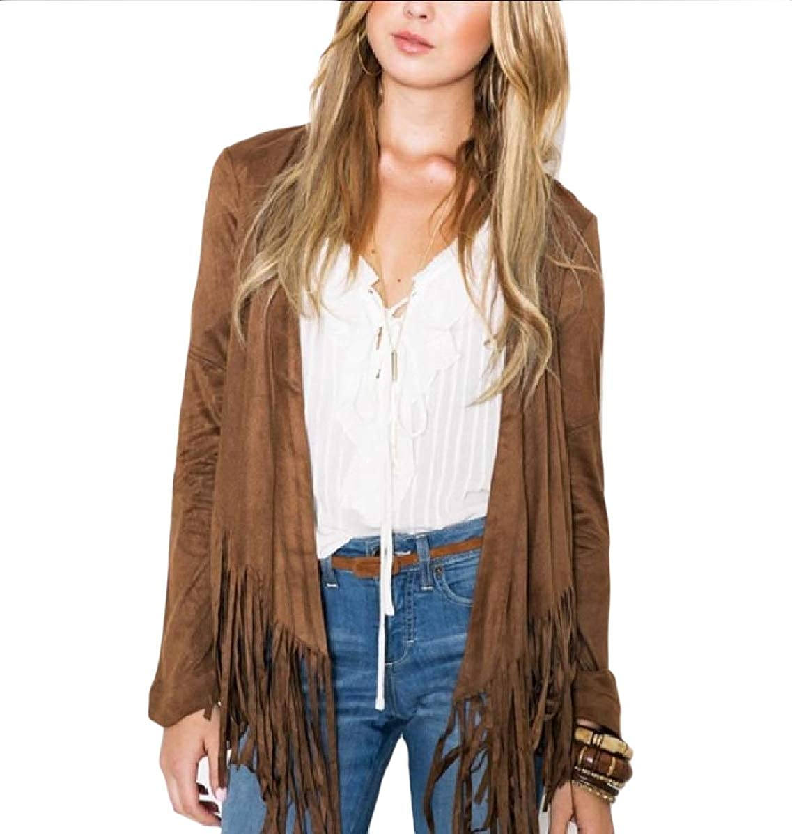 Mfasica Womens Skinny Long-Sleeve Cardigan Fringe Faux Suede Tops Outwear