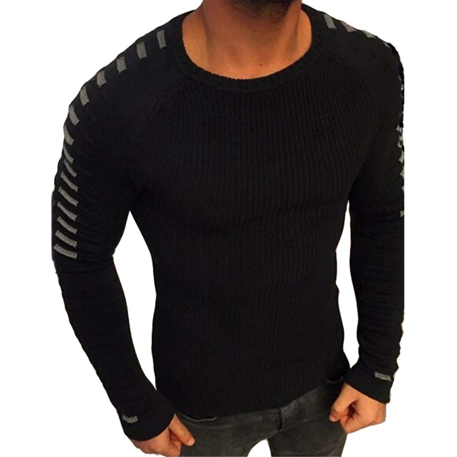 Nerefy Sweater Men Pullover Men Long Sleeve O-Neck Patchwork Knitted Sweaters