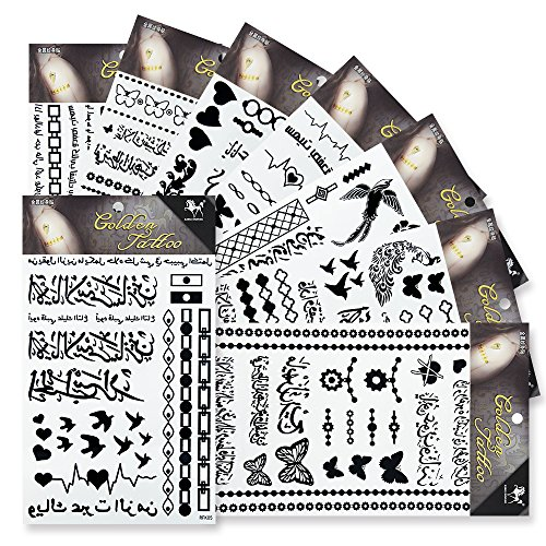 8 Sheets Black Temporary Tattoos,KINGHORSE Fake Tattoos Henna Tattoo Body Art Sticker Arm Shoulder Chest & Back Makeup in Butterfly Flower Bird Heart Over 230 (Heart & Butterfly Tattoos)