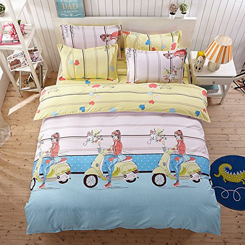 Sidelines Twin Comforter Collection - Polyester 4 Pieces Kids Cartoon Duvet Cover AB Print Bedding Set Students Duvet Cover Set with Heart Girl Pattern Bed Set,without Comforter (Full,#9)
