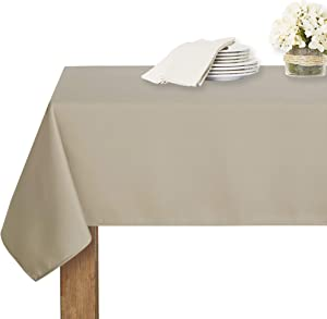 RYB HOME 6ft Rectangle Tablecloth - Scratch Resistant & Spillproof Table Cloth for Kitchen Dining Banquet Buffet Restaurant 6-8 Set, 60 x 84 inches, Taupe