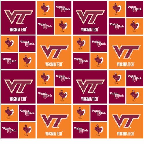 Virginia Tech Hokies Checker Cotton Fabric