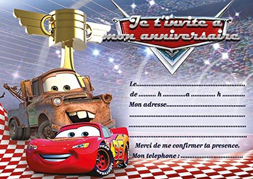 10 tarjetas invitación cumpleaños Cars 3 completo juego ...