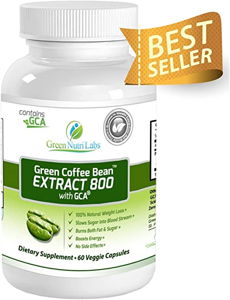 Amazon Com Pure Green Coffee Bean Extract 800mg With Gca Double Strength 50 Chlorogenic Acid Antioxidants Thirty 30 Days Supply Premium Fat Burner And 100 Natural Weight Loss Supplement Health Personal Care