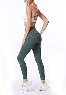ZMJY Leggings de Tiro Medio, Medias para Mujer Pantalones de Yoga con Estiramiento elástico Pantalones Deportivos Ajustados, Danza para Caminar Entrenamiento Fitness y Correr,Green,L