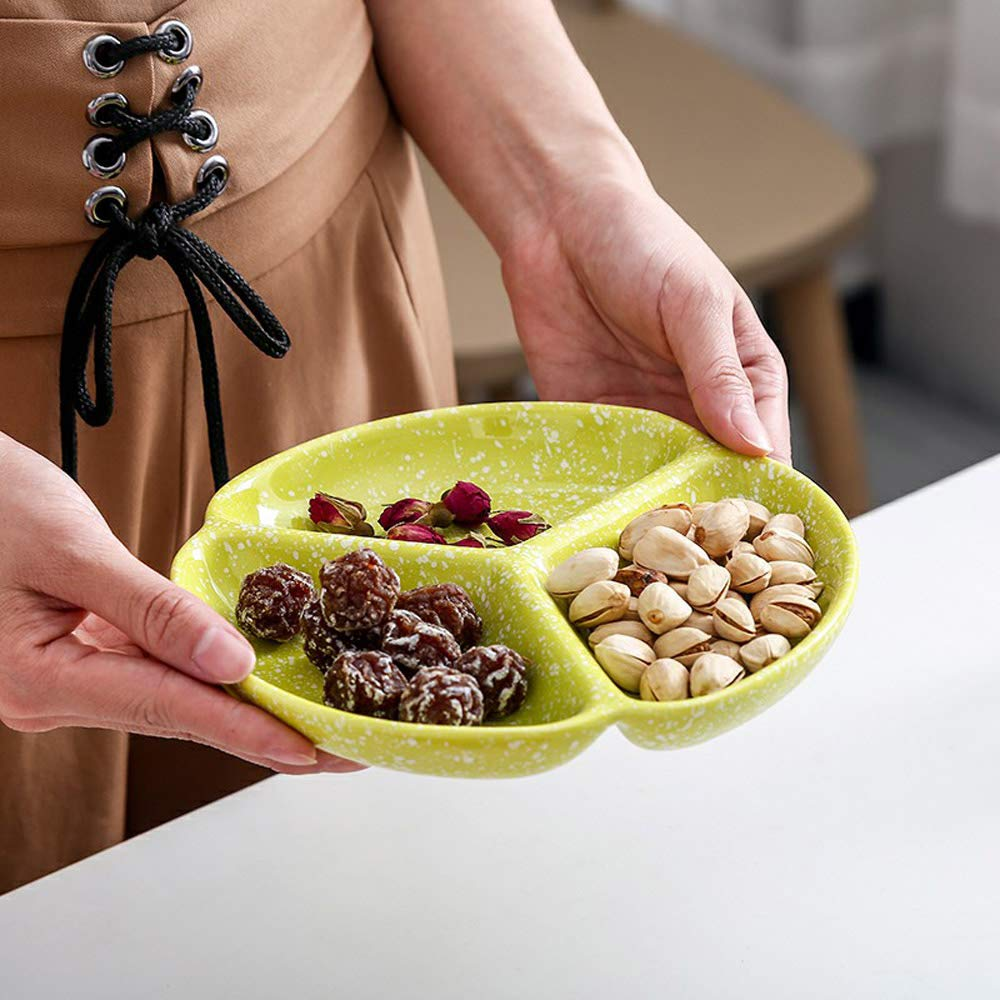 MASSJOY Japanese-style Snowflake Glaze Tableware Ceramic Divided Plate.