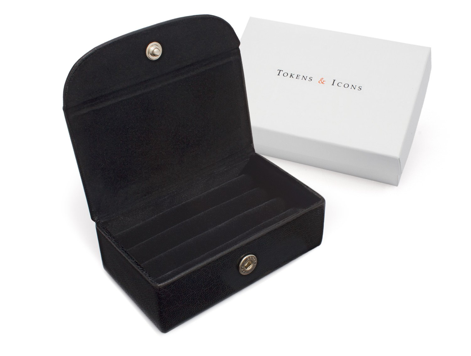 Tokens & Icons 3 Pair Cufflinks Travel Case (803),Black,One Size