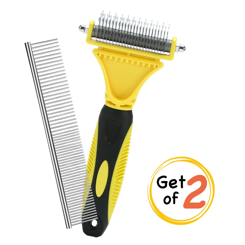 Prumya Dematting Comb, Grooming Brush Tool for Dogs & Cats, Double Sided Rounded Grooming Rake, Easily Removes Matts, Tangels, Knots & Reduce Shedding