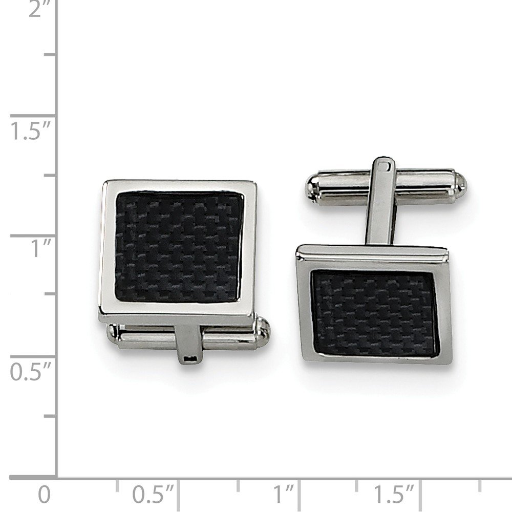 FB Jewels Solid Stainless Steel Black Carbon Fiber Cuff Links