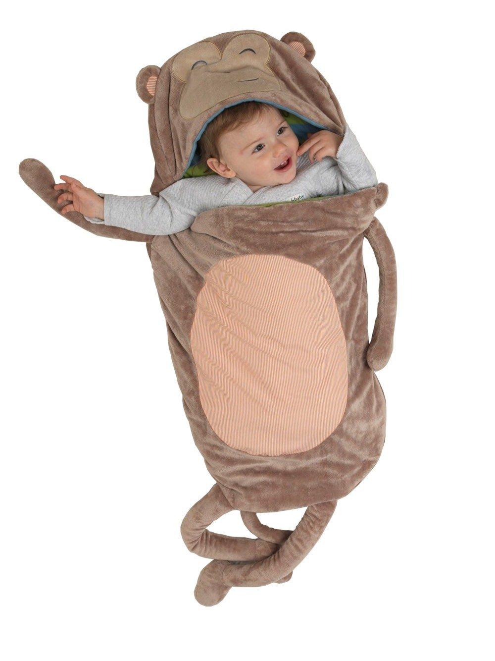 i-Baby Ultra Soft Plush Animal Baby Sleeping Bag Infant Velvet Swaddling Baby Wrap Slumber Sacks, Large Size 18''x43'' to Fit Growing Baby (Monkey)
