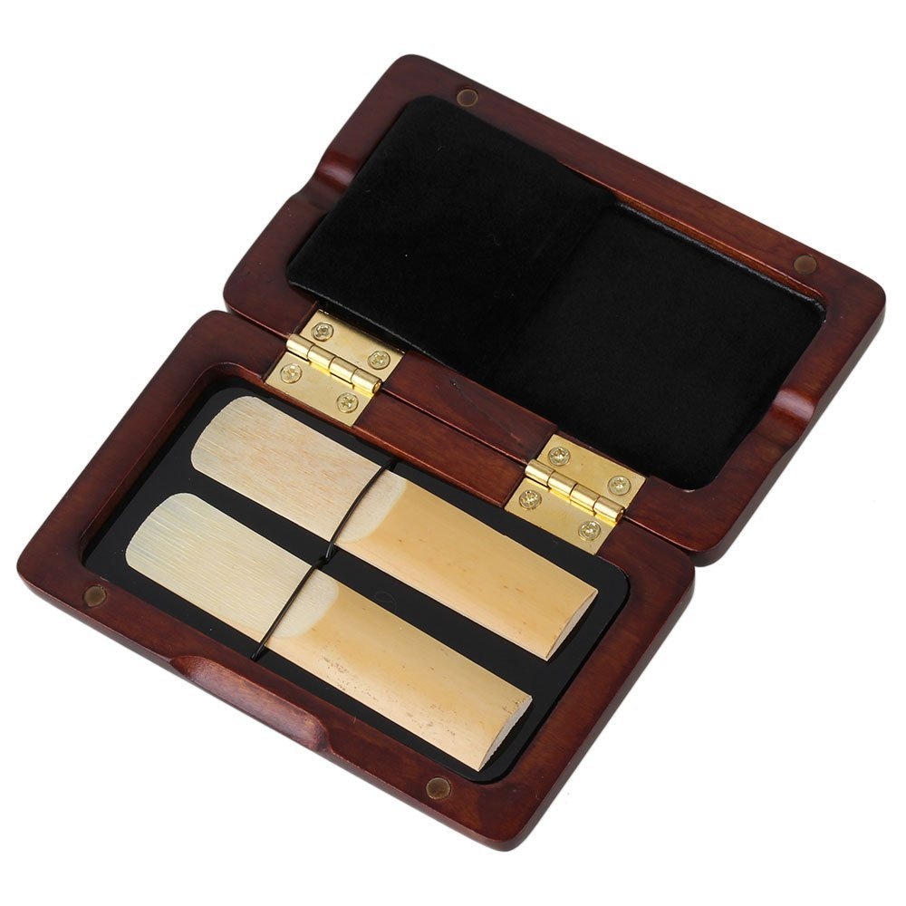 Yibuy Elegant Handmade Wooden Sax Reed Case Box Protector for 2pcs Reed Hold with Glass Pane Durable