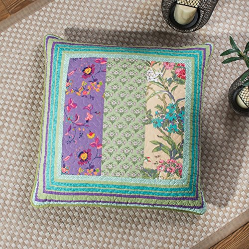 DaDa Bedding Bohemian Euro Sham - Real Patchwork Frosted Pastel Gardenia - Bright Vibrant Floral Paisley - Colorful Blue Lavender Green - 26