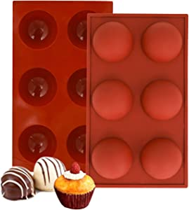 Tingoo Hot Chocolate Bomb Silicone Semi Sphere Molds, Non Stick, Food-Grade Round Silicone Mold for Chocolate, Cake, Jelly, Pudding,Baking Supplies 6 Holes(2pcs)