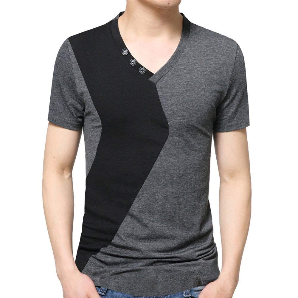Hermia Patchwork Color Block Men's Tee Shirt Summer Casual T Shirt Button Short-Sleeve Tops Sweatshirts (Color : Gray, Size : Large)