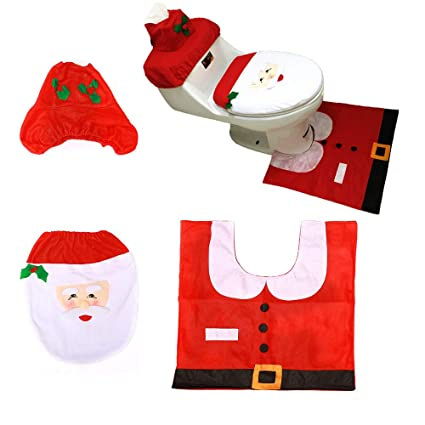 Outstanding Amazon Com Semilyn Christmas Toilet Set Santa Toilet Seat Customarchery Wood Chair Design Ideas Customarcherynet