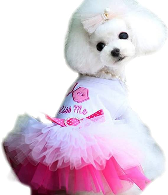 Pet Palace\u00ae Pearl Princess Dog Dress for spoiled princesses plus FREE LED Night Safety Dog bone Tag
