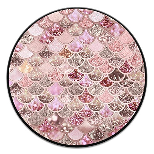 r Girls, Multi-function Expansion Holder, Out Phone Grip And Stand Socket Mobile Holder For Phones and Tablets - Rose Gold Blush Glitter Ombre Mermaid Scales Black ()