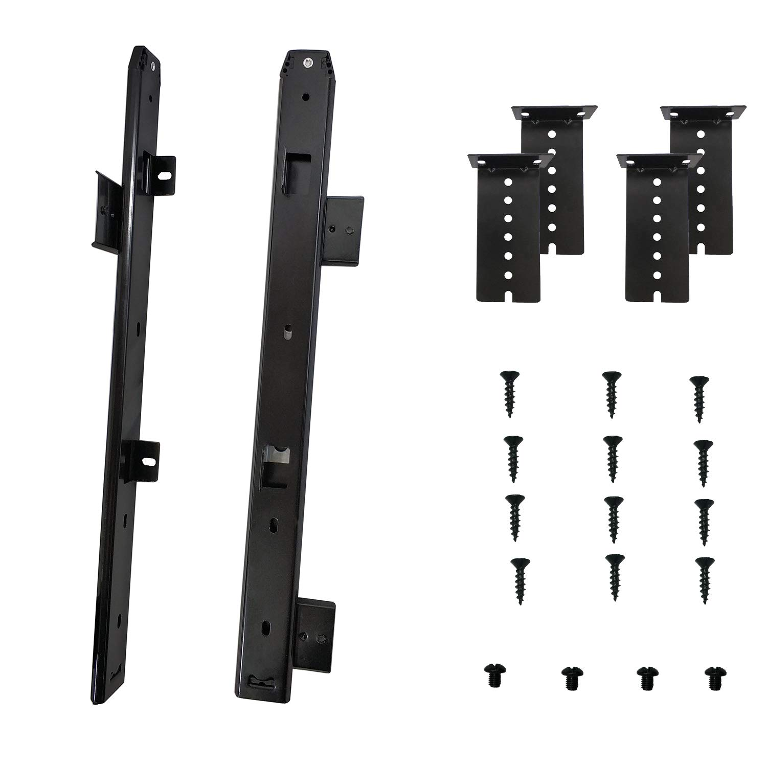 FRMSAET Heavy Duty Thickness Steel Construction Soft - Close Ball Bearing 18'' Slides Cabinet Furniture Hardware Rails Keyboard Drawer Tray Accessories Adjustable Hight Mount Bracket/Include Screws.