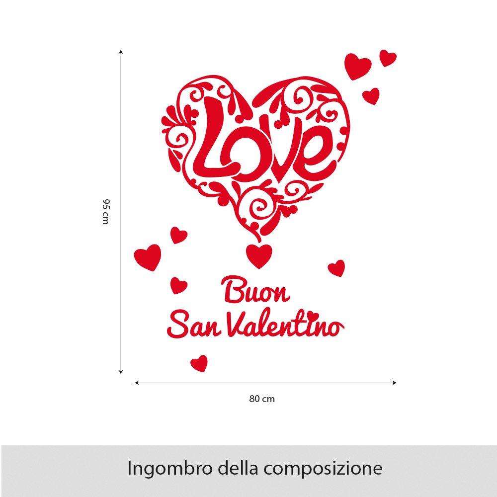 VSV0563 Stickers Vetrofanie San Valentino Vetrinistica vetrine negozi 60x40 cm