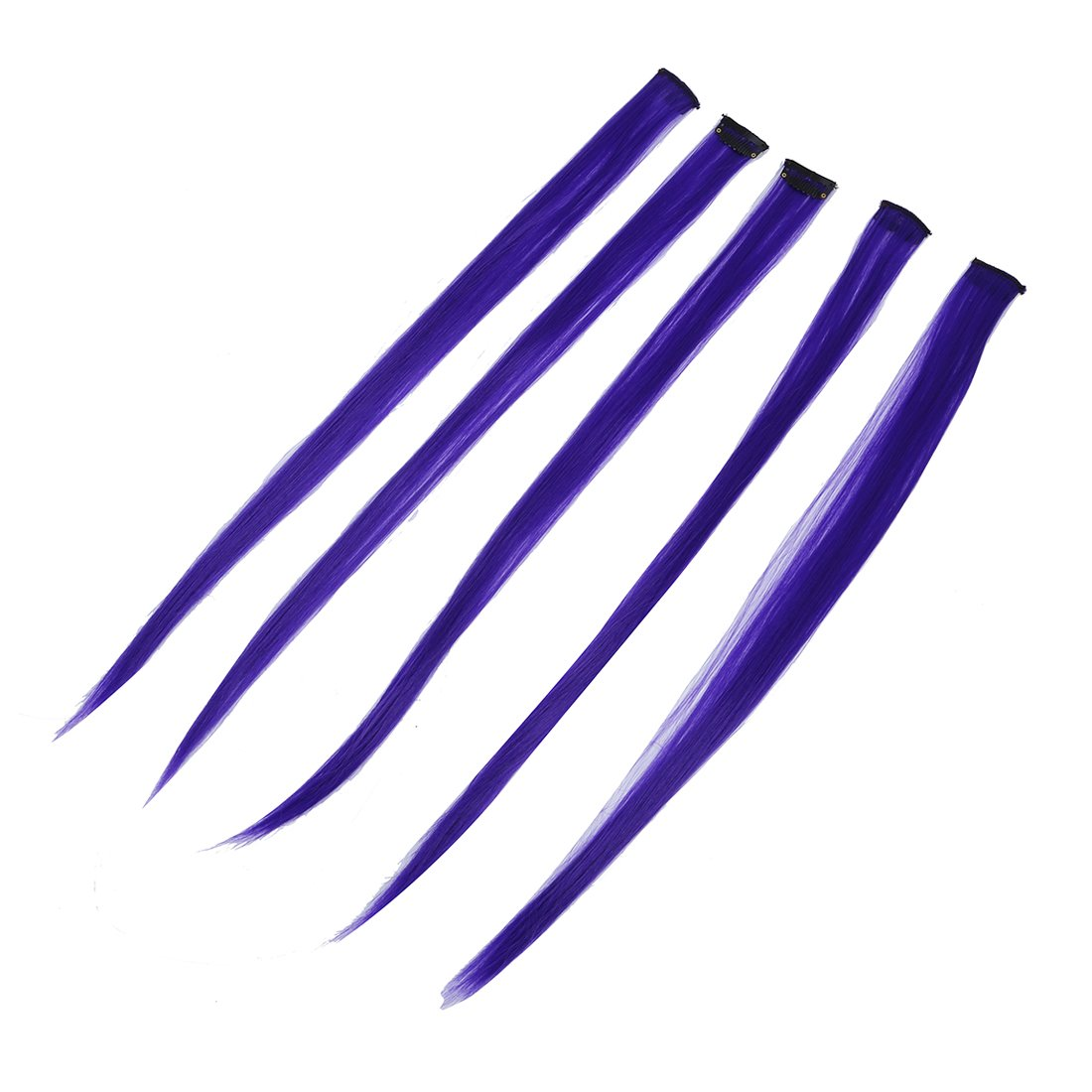 5 Pcs Colored Clip-on In Hair Extensions Straight Wigs Hairpieces 23.6 Inch Long - Blue Violet SODIAL