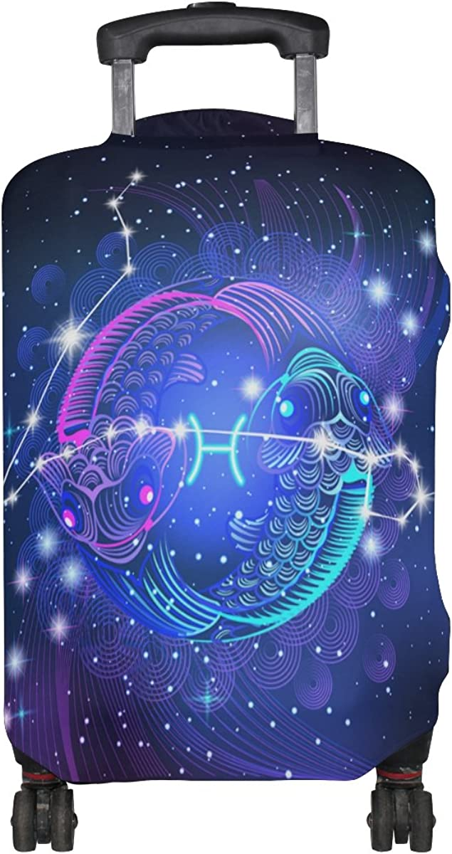 Constellation Zodiac Sign Pisces Luggage Cover Travel Suitcase Protector Fits 18-21 Inch Luggage