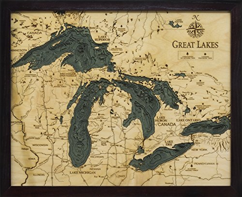 Michigan Wall Map - Great Lakes 3-D Nautical Wood Chart, 16