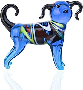 crystalsuncatcher Blue Dog Glass Statue Ornament Puppy Figurine Hand Blown Sculpture Multicolor(Dog)