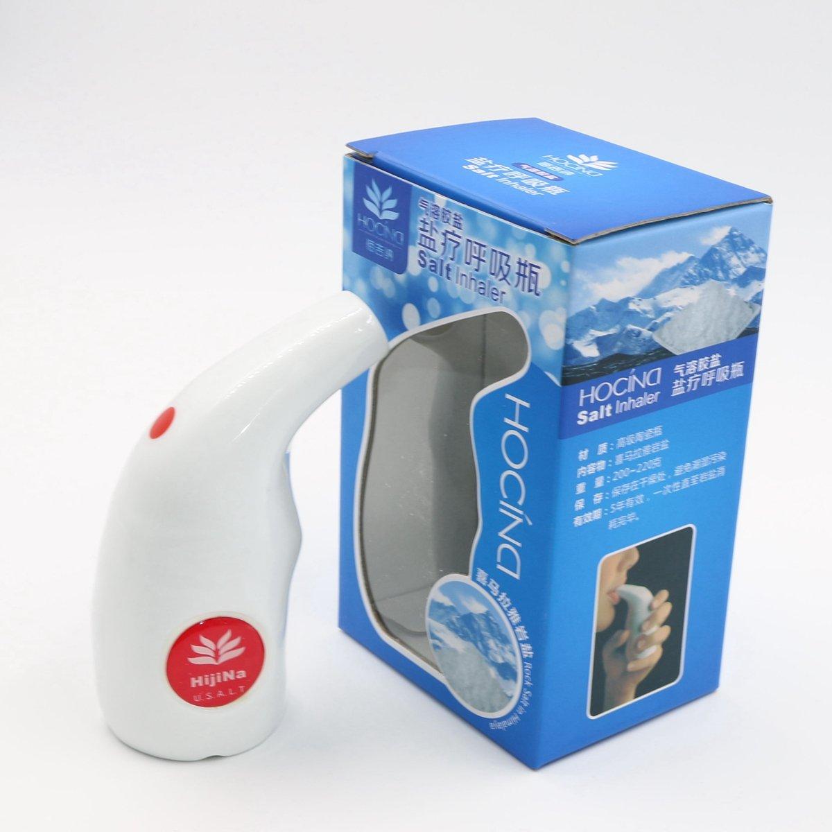 HijiNa Salt Inhaler, Ceramic Inhaler with Himalayan Natural Crystal Salt