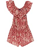 Aeropostale Womens Off The Shoulder Print Romper Jumpsuit Red S - Juniors