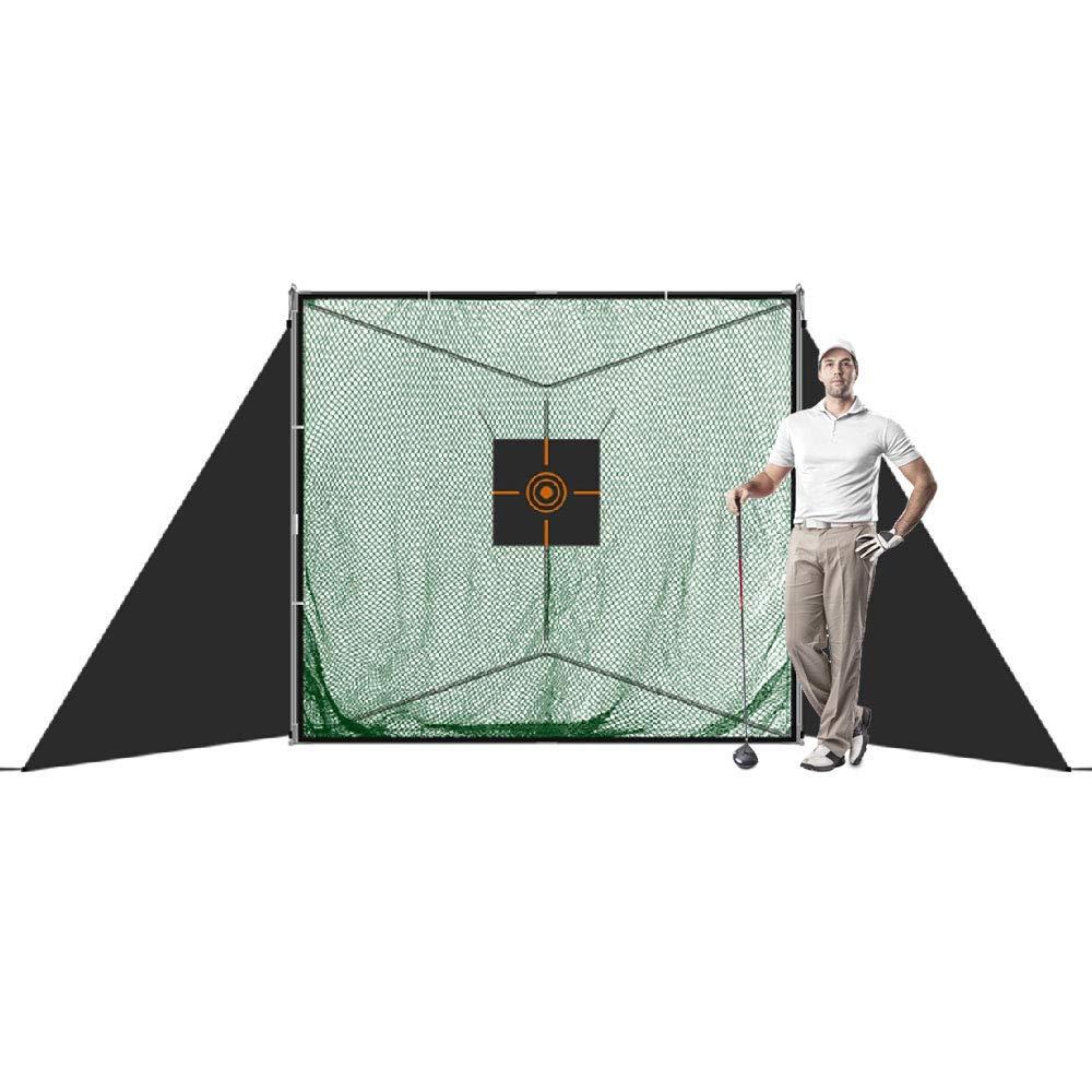 JaeilPLM 7フィート x 6フィート8インチ x 7フィート ポータブルゴルフ練習用ヒッティングネット 三角スタンド付き ゴルフの練習 屋内外 安全翼 ターゲット補助 キャリーバッグ   B018284UYI