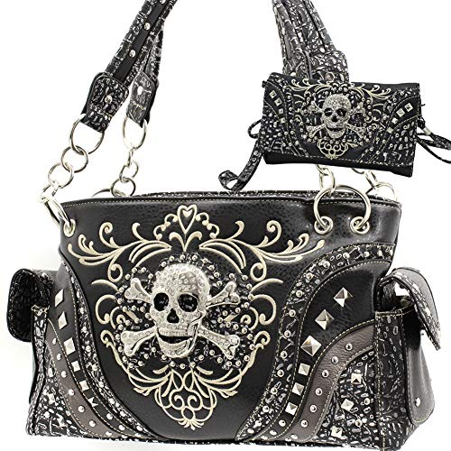 Rhinestone Skull Western Concealed Carry Handbag and wallet set (Black)