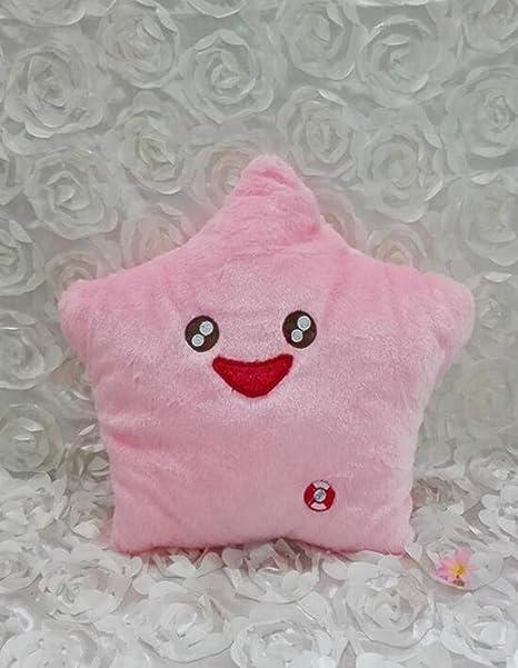 Almohada romántica con luz LED Cojín de Felpa Regalo para niñas Decoración para el hogar Estrella de la Risa Rosada