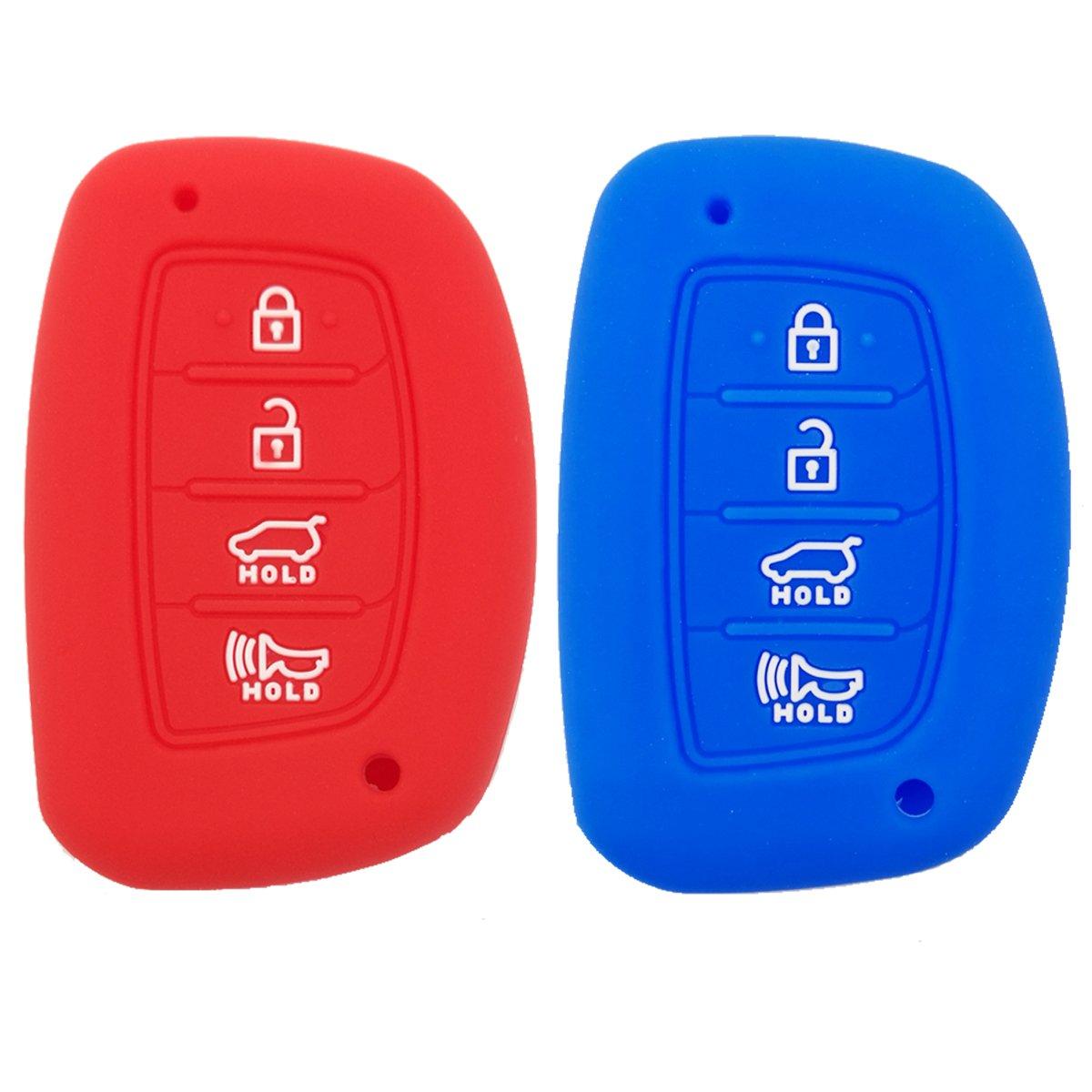 Coolbestda 2Pcs Rubber Smart Key Fob Cover Case Remote Skin Keyless Jacket Protector for 2018 2017 2016 Hyundai Tucson Elantra Sonata 4Buttons (NOT FIT Flip/Pop Out/Folding key)