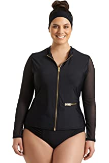 d8404a51aaa Always For Me Timothy Snell Women s Plus Size Harper Mesh Front Zip  Rashguard - Ladies