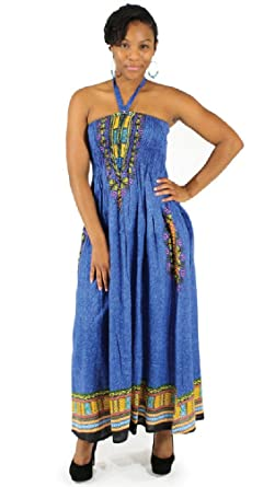 89bb86fe187 Long Traditional African Print Tube Dress - Available in Many Colors (Blue)