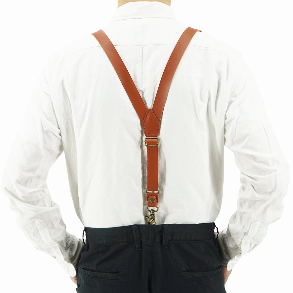 1 Inch Soft Leather Suspender Y shaped Adjustable Clips,1 Screwdriver,3 Snap Hooks