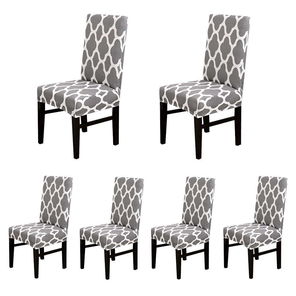 Lahome Stretch Spandex Dining Room Chair Cover Removable Washable Chair Protector Cover Slipcover, Hotel Dining Room Ceremony Banquet Wedding Party Use (Gray, Set of 6) by Lahome