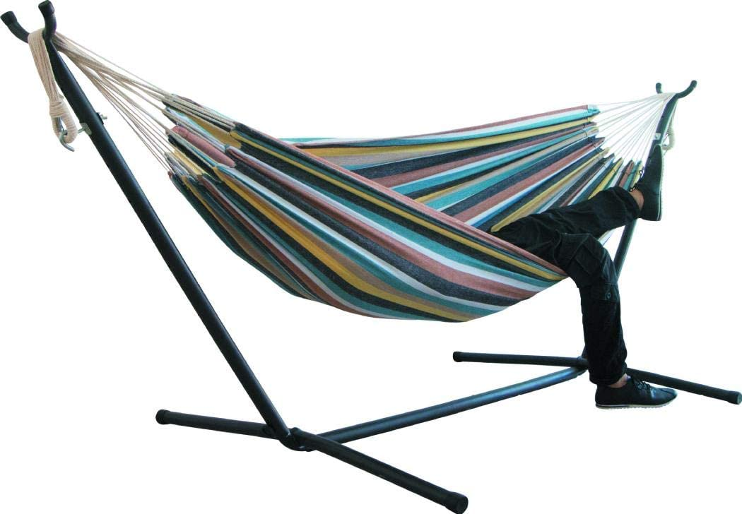 Blue kiss me Double Rope Striped Hammock with Metal Frame Stand Outdoor Hanging Swing Hammock Garden Patio Lazy daze Hammock Lounge Chair