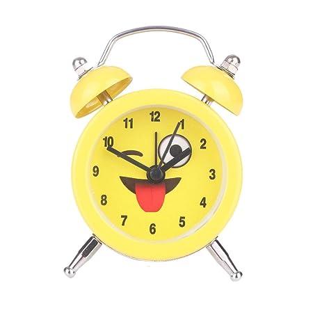 Gaddrt Alarm Clock Night Light Emoji Emoticon Twin Bell Silent Alloy