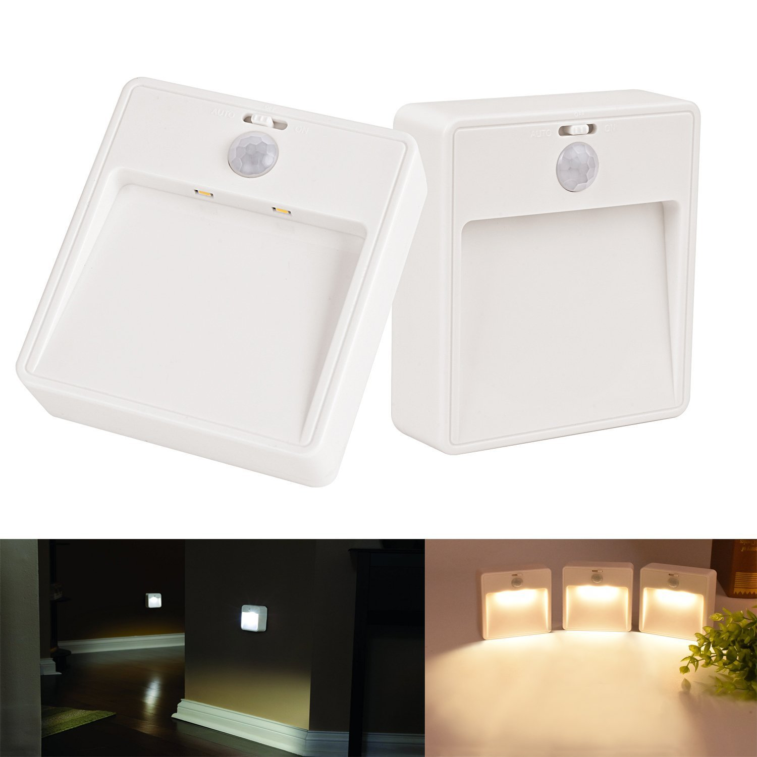 Cordless Motion Sensor Night Light Battery Powered Soft Safe light for Bedroom,Bathroom,Stair,Aisle ,2 Pack