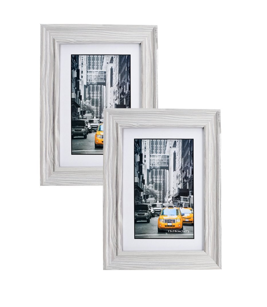 Marble Gray Wood Picture Frame 5x7 (2pc) Photo Display with Glass Front, Easel Back, Hanging Clip | 2 PIECE SET (Gray) by Lambert Frame