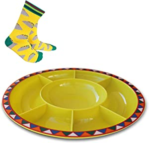 Serving Platter for Parties Large Divided Tray, Plate for Taco Chips and Dip, Snacks with Taco Socks. Durable and Melamine Plastic