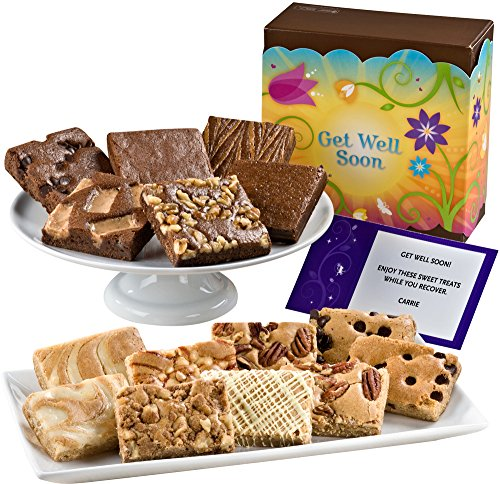 Fairytale Brownies Get Well Bar & Brownie Combo Gourmet Food Gift Basket Chocolate Box - 3 Inch Square Full-Size Brownies and 3 Inch x 2 Inch Blondie Bars - 15 Pieces